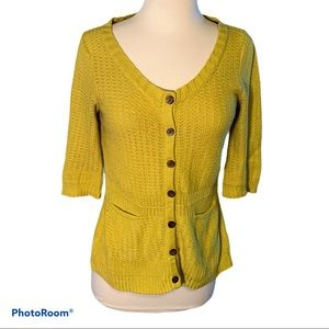 Sparrow Chartreuse Fitted Cardigan Sweater, 6